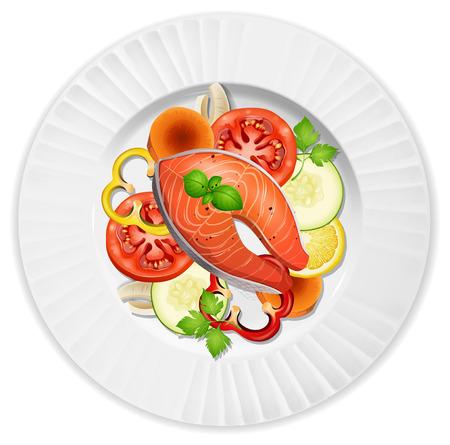 A closeup salmon steak and salad illustration Ilustrace