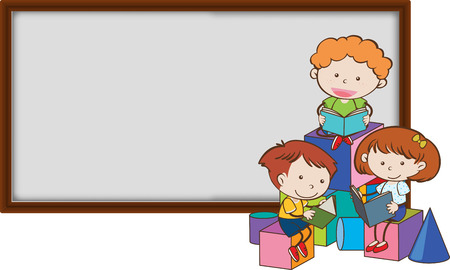 Young children reading infront of a blank blackboard illustration