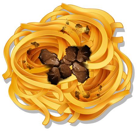 A closeup pasta with truffle sauce illustration