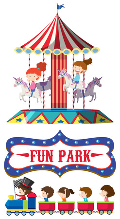Train and carousel ride illustration Vektorové ilustrace