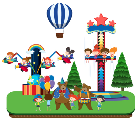 Kids at theme park and fun rides illustration