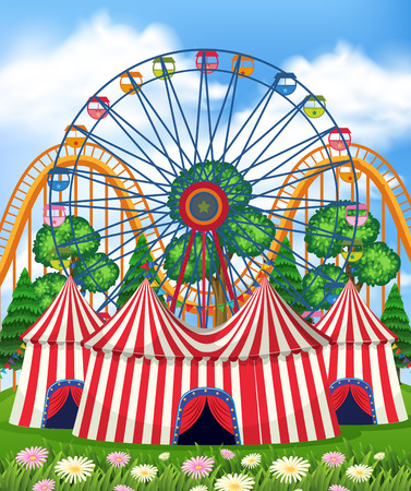 A Theme Park and Tent illustration