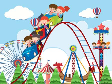 Bambini e giostre all'illustrazione del parco di divertimenti Vettoriali