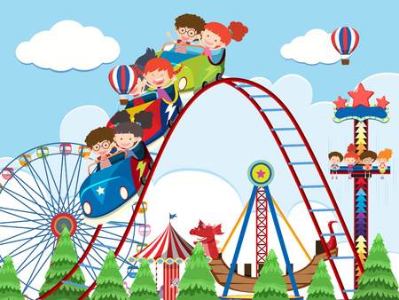 Children and rides at amusement park illustration Ilustração