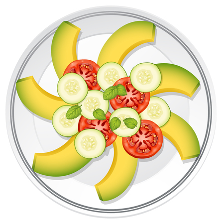 Salad with avocardo, tomato and cucumber illustration Иллюстрация