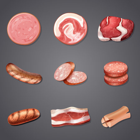 A Set of Mix Meat Product illustration