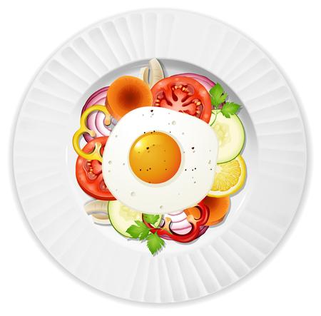 Healthy Egg Salad Top View illustration Ilustrace
