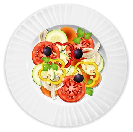 A Plate of Vegetable Salad illustration Ilustrace