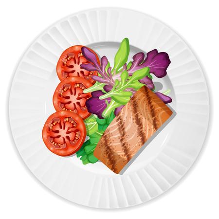 A Top View of Salmon Steak illustration 矢量图像