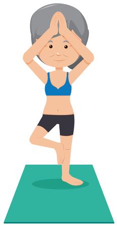 A Grandmother Practice Yoga illustration