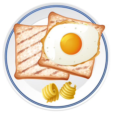 Toast and Egg for Breakfast illustration Ilustracja