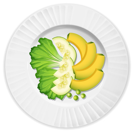 Salad with lettuce avocado and cucumber illustration