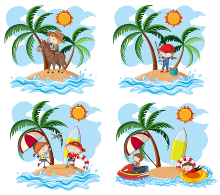 Un ensemble d'enfants et d'illustrations de l'île