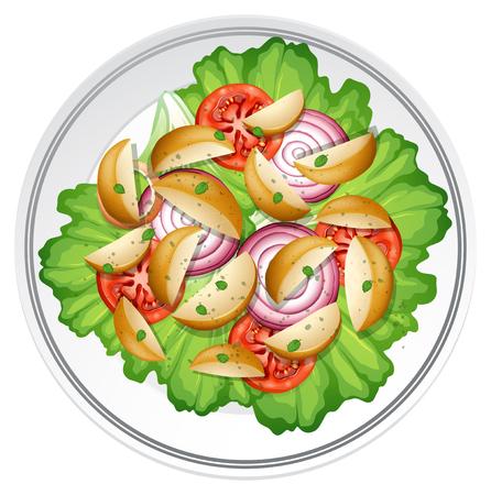 Salad with potato onion and tomato illustration