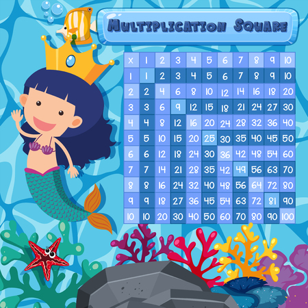 Underwater math multiplication square illustration Stock Vector - 115004006