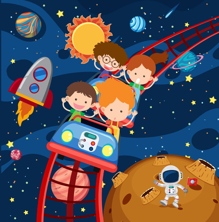 Kids riding roller coaster in space illustration Stock Illustratie