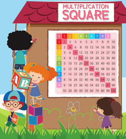 Math Multiplication Square with Students illustration