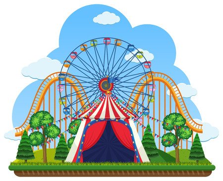A Theme Park on White Background illustration