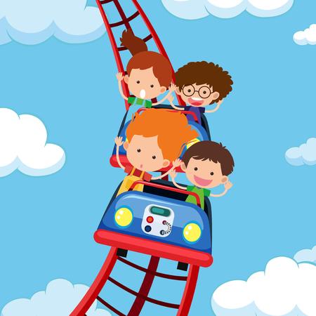 Kids riding roller coaster illustration