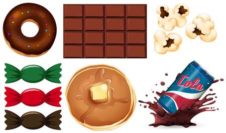Conjunto de ilustración de comida chatarra Ilustración de vector