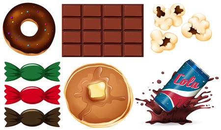 Set of junk food illustration