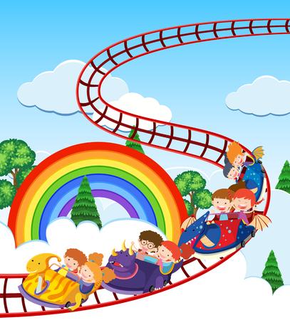 Children riding dinosaurs train illustration