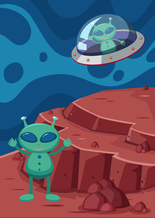 Alien and UFO in space illustration