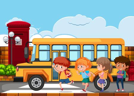 Enfants courant pour monter dans le bus scolaire illustration Vecteurs