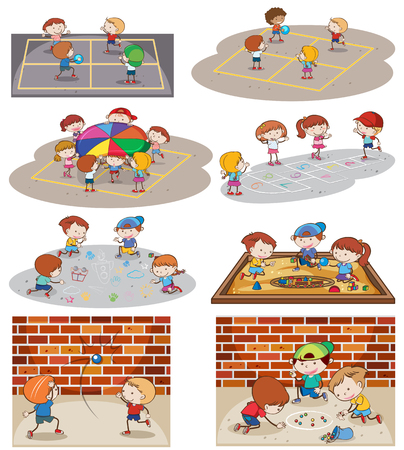 A set of kids playing at playground illustration Stock Illustratie