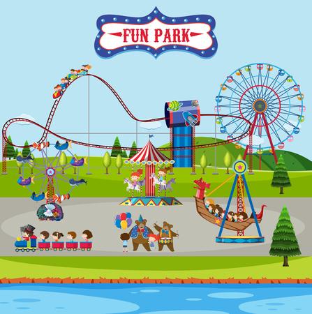 Fun park and rides illustration