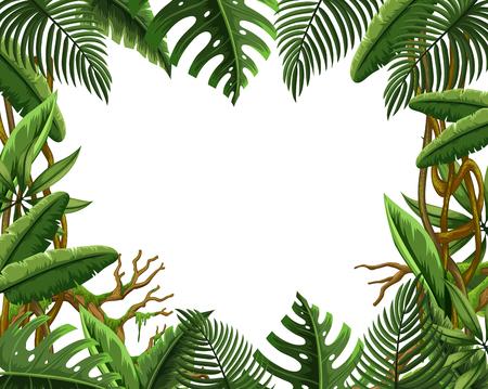 Blank jungle leave frame illustration