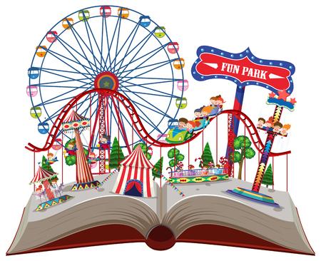 Fun park in pop up book illustration