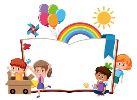 Glückliche Kinder leere Buchschablonenillustration Vektorgrafik