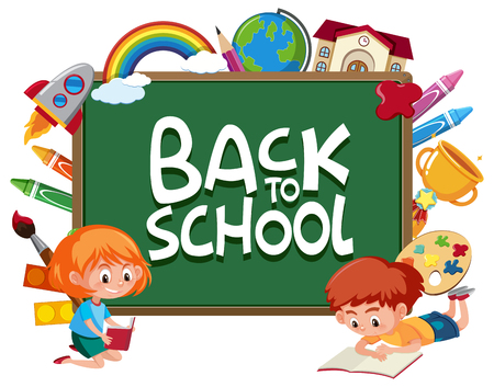 Back to school template illustration  イラスト・ベクター素材