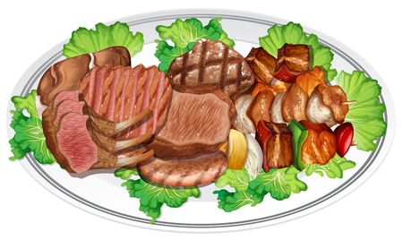 Plate of different meat illustration Ilustrace