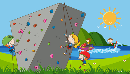 Children doing extreme sports illustration