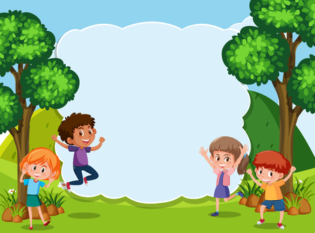 Kids in nature template illustration