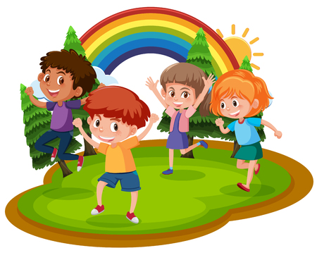 Four happy children in a park illustration Stockfoto - 112365662