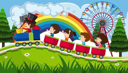 Children riding a train in fun park illustration