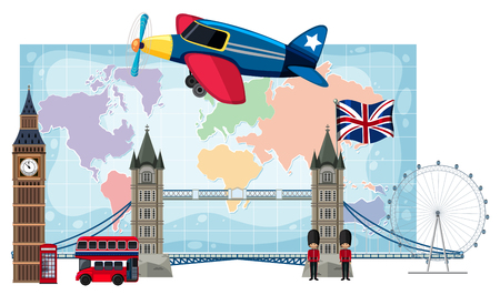 London landmarks infront of map illustration