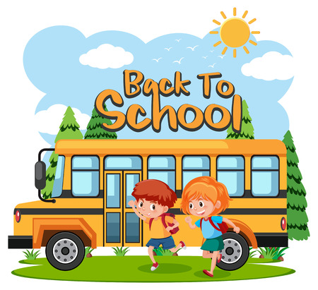 Students going to school by bus illustration