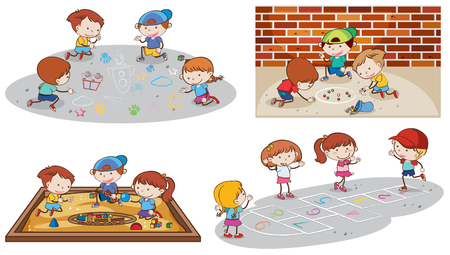 Set of children playing illustration Stock Illustratie