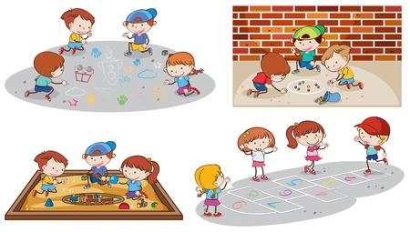 Set of children playing illustration Ilustração
