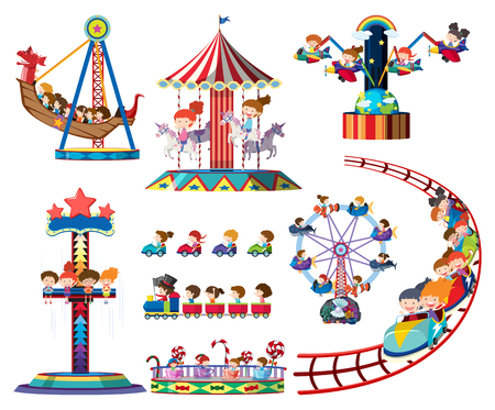 A set of theme park rides illustration Çizim