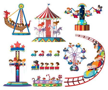 Zestaw ilustracji przejażdżki parku rozrywki