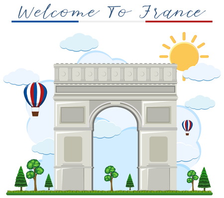 Welcome to france arch de triumph illustration