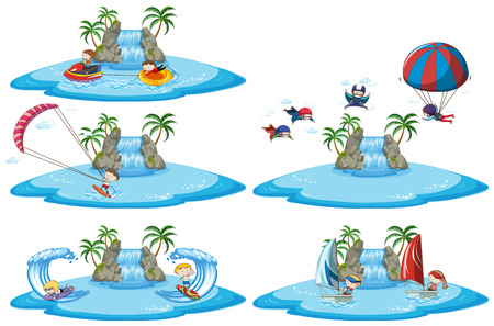 Set of different sport signs above water illustration