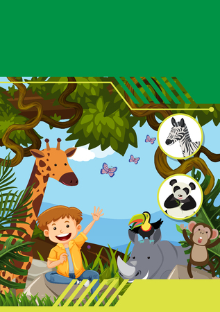 Wildlife with boy template illustration Stock Vector - 112365692