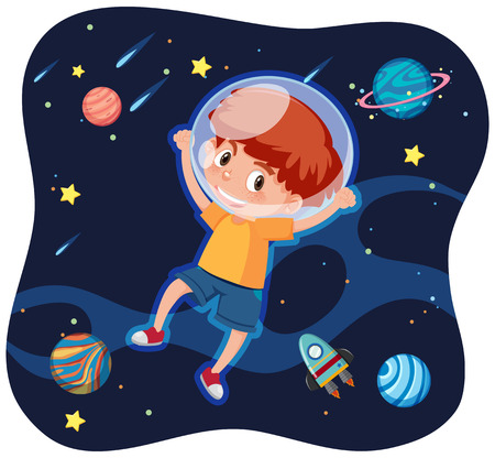 A happy boy in space illustration