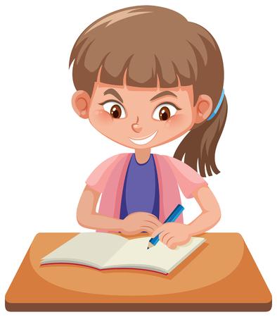 Un étudiant étudie à l'illustration de la table Vecteurs